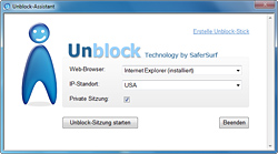 Screenshot of the Unblock Assistant